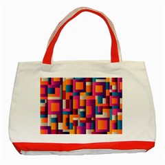 Abstract Background Geometry Blocks Classic Tote Bag (red)