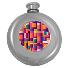 Abstract Background Geometry Blocks Round Hip Flask (5 oz)