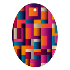 Abstract Background Geometry Blocks Oval Ornament (two Sides)