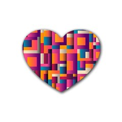 Abstract Background Geometry Blocks Rubber Coaster (heart)