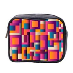 Abstract Background Geometry Blocks Mini Toiletries Bag 2 Side
