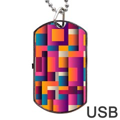 Abstract Background Geometry Blocks Dog Tag Usb Flash (one Side)