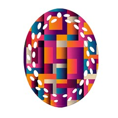 Abstract Background Geometry Blocks Oval Filigree Ornament (2 Side)