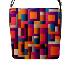 Abstract Background Geometry Blocks Flap Messenger Bag (l)