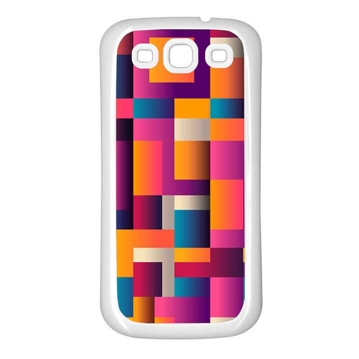 Abstract Background Geometry Blocks Samsung Galaxy S3 Back Case (White)