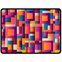 Abstract Background Geometry Blocks Double Sided Fleece Blanket (large)