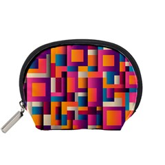 Abstract Background Geometry Blocks Accessory Pouches (small)