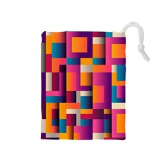 Abstract Background Geometry Blocks Drawstring Pouches (medium)