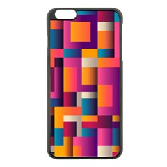 Abstract Background Geometry Blocks Apple Iphone 6 Plus/6s Plus Black Enamel Case