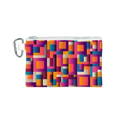Abstract Background Geometry Blocks Canvas Cosmetic Bag (s)
