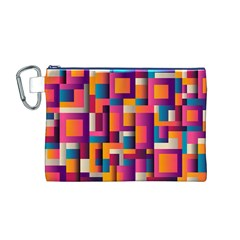 Abstract Background Geometry Blocks Canvas Cosmetic Bag (m)