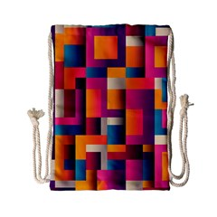 Abstract Background Geometry Blocks Drawstring Bag (small)