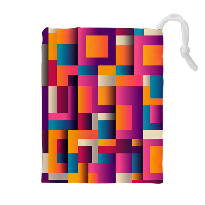 Abstract Background Geometry Blocks Drawstring Pouches (Extra Large)