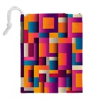Abstract Background Geometry Blocks Drawstring Pouches (Extra Large) Back