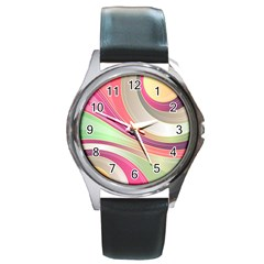 Abstract Colorful Background Wavy Round Metal Watch