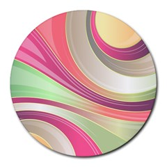 Abstract Colorful Background Wavy Round Mousepads
