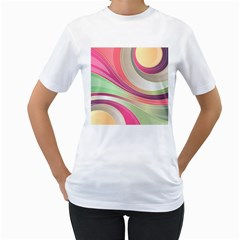 Abstract Colorful Background Wavy Women s T Shirt (white) (two Sided)
