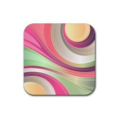 Abstract Colorful Background Wavy Rubber Square Coaster (4 Pack)
