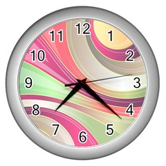 Abstract Colorful Background Wavy Wall Clocks (silver)