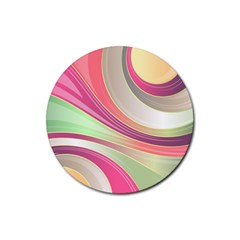 Abstract Colorful Background Wavy Rubber Round Coaster (4 Pack)