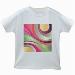 Abstract Colorful Background Wavy Kids White T Shirts
