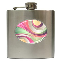 Abstract Colorful Background Wavy Hip Flask (6 Oz)
