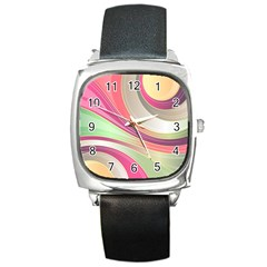 Abstract Colorful Background Wavy Square Metal Watch