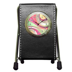 Abstract Colorful Background Wavy Pen Holder Desk Clocks