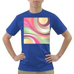 Abstract Colorful Background Wavy Dark T Shirt