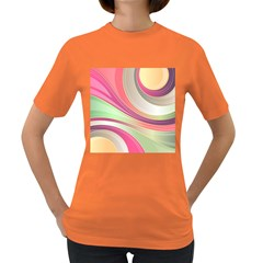 Abstract Colorful Background Wavy Women s Dark T Shirt