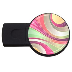 Abstract Colorful Background Wavy Usb Flash Drive Round (4 Gb)