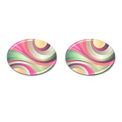 Abstract Colorful Background Wavy Cufflinks (oval)