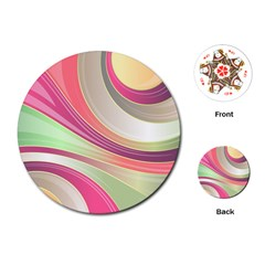 Abstract Colorful Background Wavy Playing Cards (round)
