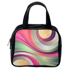 Abstract Colorful Background Wavy Classic Handbags (one Side)