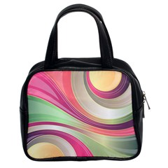 Abstract Colorful Background Wavy Classic Handbags (2 Sides)