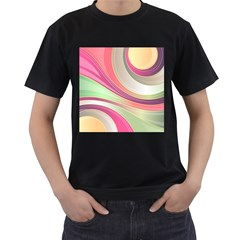 Abstract Colorful Background Wavy Men s T Shirt (black)