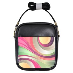 Abstract Colorful Background Wavy Girls Sling Bags