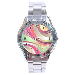 Abstract Colorful Background Wavy Stainless Steel Analogue Watch