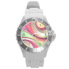 Abstract Colorful Background Wavy Round Plastic Sport Watch (l)