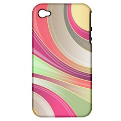 Abstract Colorful Background Wavy Apple Iphone 4/4s Hardshell Case (pc+silicone)
