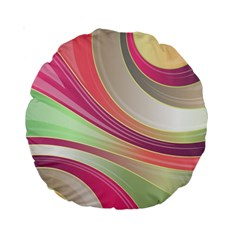 Abstract Colorful Background Wavy Standard 15  Premium Round Cushions