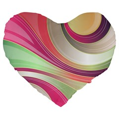 Abstract Colorful Background Wavy Large 19  Premium Heart Shape Cushions