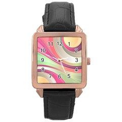 Abstract Colorful Background Wavy Rose Gold Leather Watch