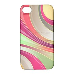 Abstract Colorful Background Wavy Apple Iphone 4/4s Hardshell Case With Stand