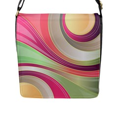 Abstract Colorful Background Wavy Flap Messenger Bag (l)