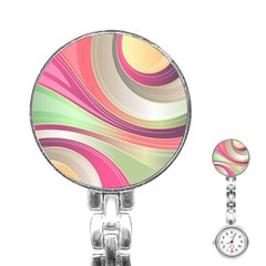 Abstract Colorful Background Wavy Stainless Steel Nurses Watch