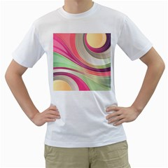 Abstract Colorful Background Wavy Men s T Shirt (white)