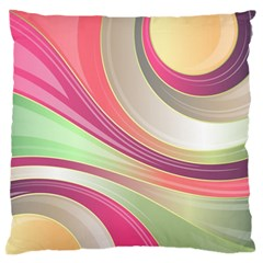 Abstract Colorful Background Wavy Large Flano Cushion Case (two Sides)