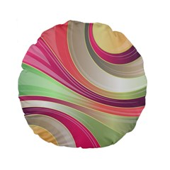Abstract Colorful Background Wavy Standard 15  Premium Flano Round Cushions