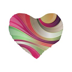 Abstract Colorful Background Wavy Standard 16  Premium Flano Heart Shape Cushions